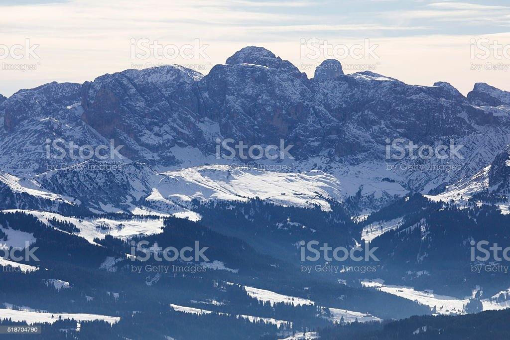Sasslong mountain covered in snow, Dolomites, Italy stock photo