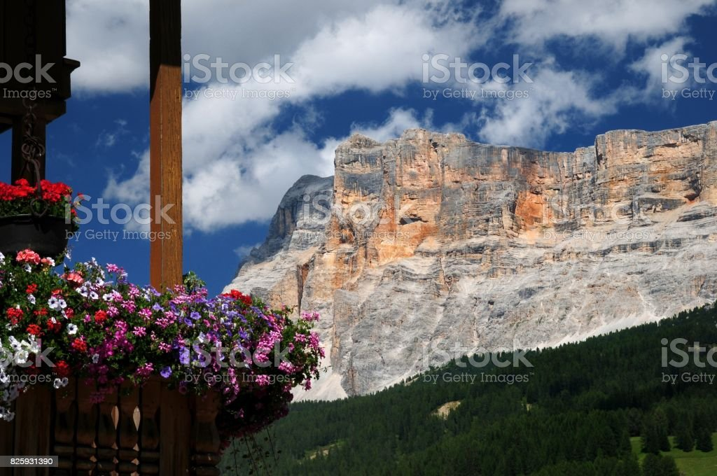 Sasso della Croce in the Italian Dolomites. Alta Badia, Italy. stock photo