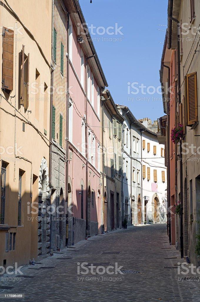 Sassoferrato (Pesaro Urbino, Marches, Italy) - Street stock photo