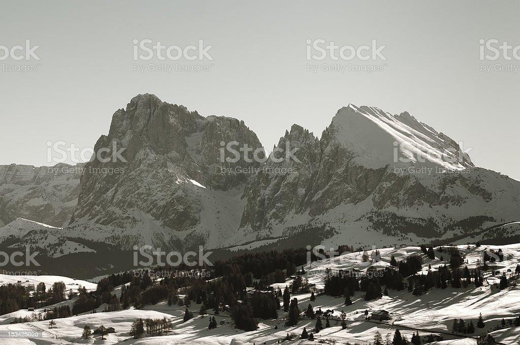 Sassolungo and Sassopiatto: Dolomites in winter, Italian Alps royalty-free stock photo