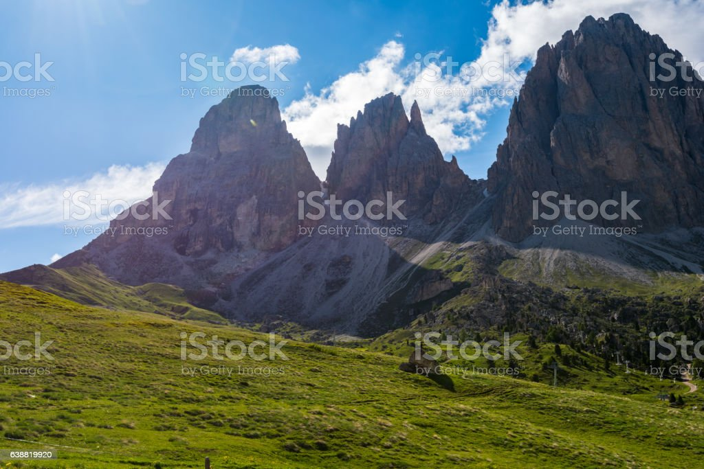 Sassolungo and Sassopiatto landscape stock photo