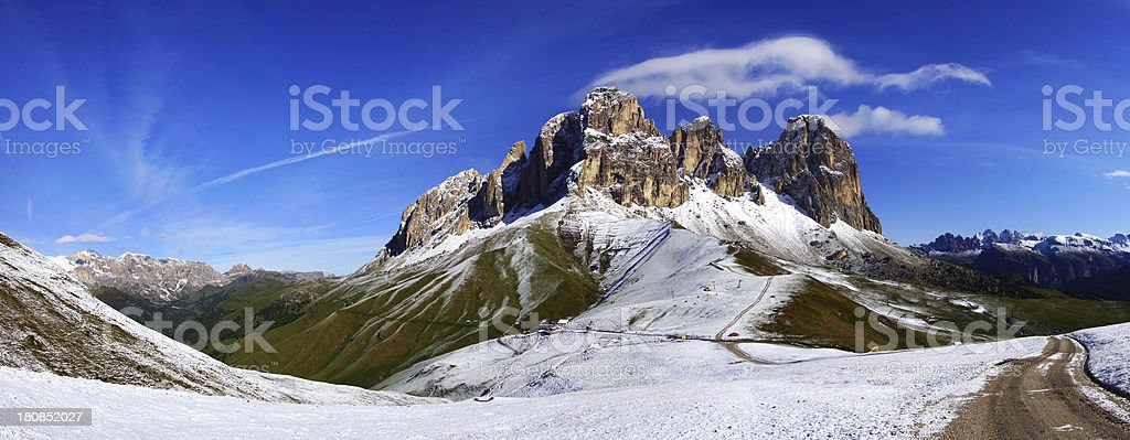 Sassolungo. Italy stock photo