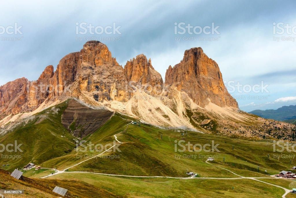 Sassolungo Mountain Group, Dolomites Alps, Italy stock photo
