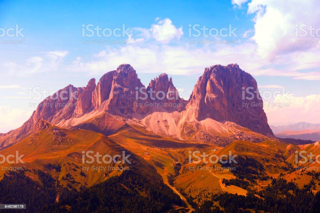 Sassolungo Mountain Groups, Dolomites Alps,Italy stock photo