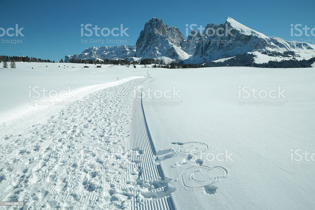 Sassolungo Sassopiatto mountains, Alpe di Siusi, Trentino Alto Adige, Italy stock photo