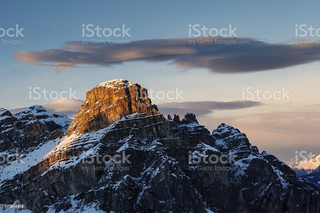 Sassongher Peak on the Ski Resort of Corvara, Alta Badia stock photo