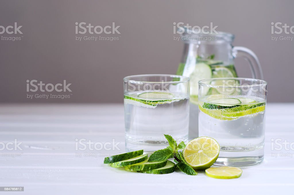 Sassy water. Fresh summer season detox drink. stock photo