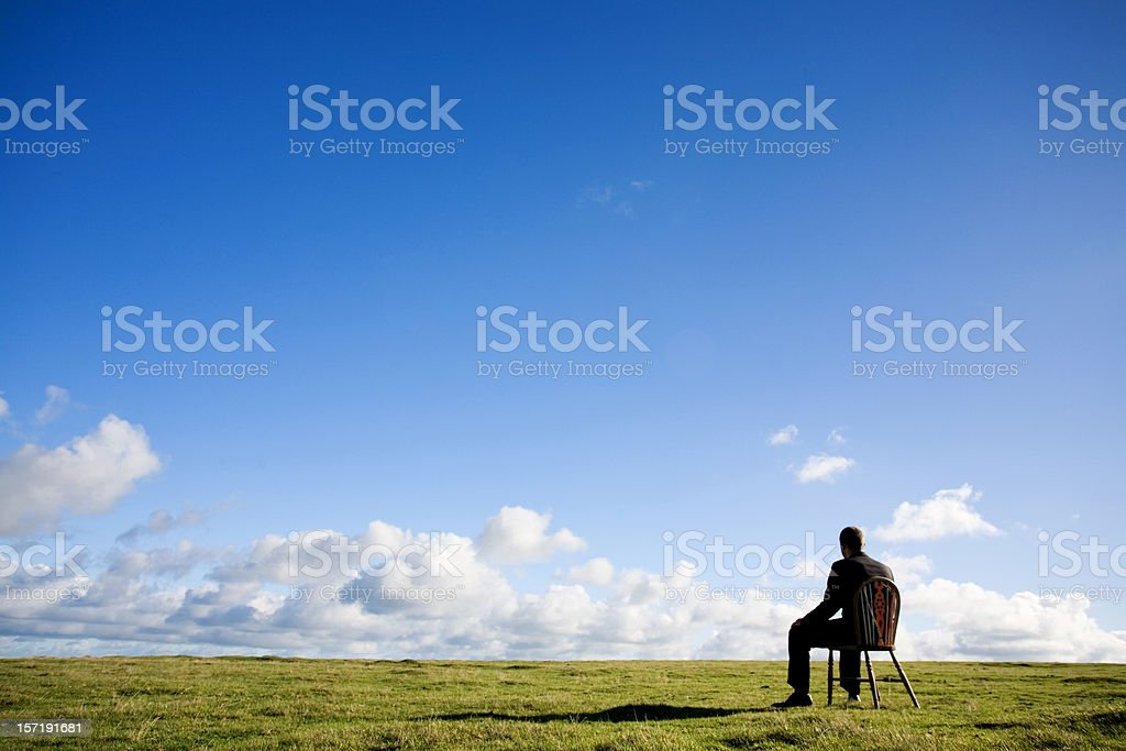 Sat down stock photo