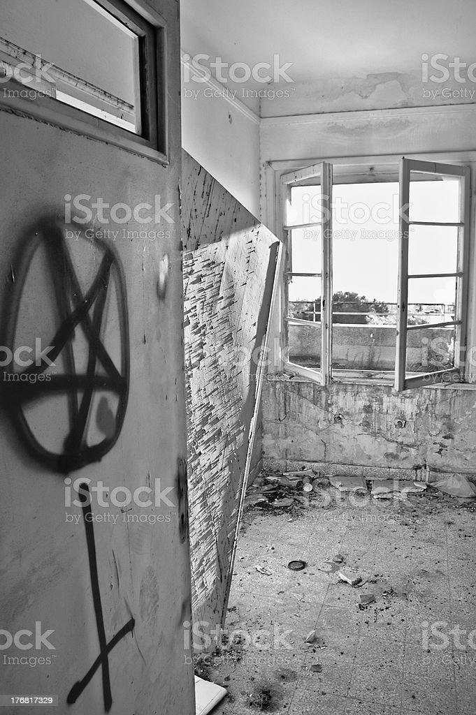 satanic symbols graffiti royalty-free stock photo