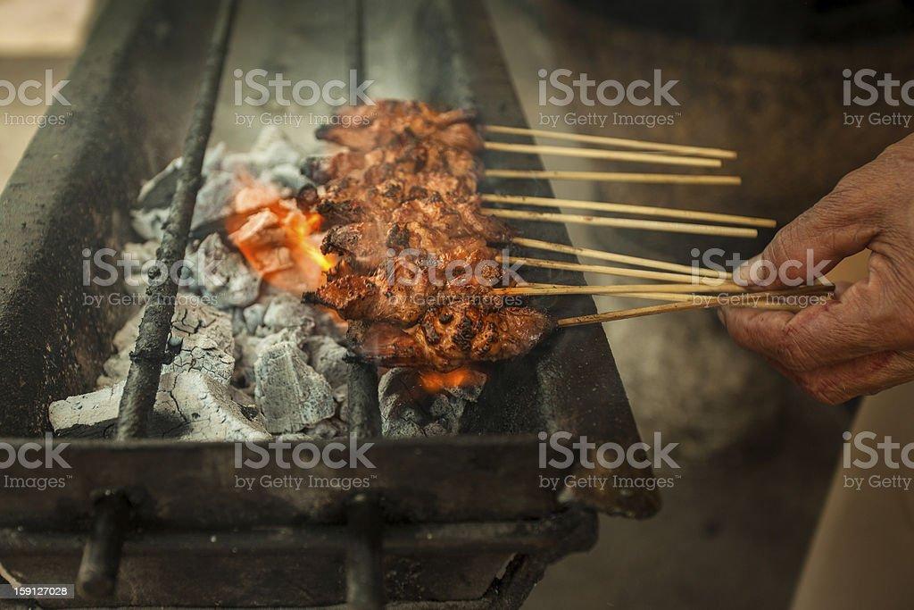 Satay, Asian traditional barbecue stock photo