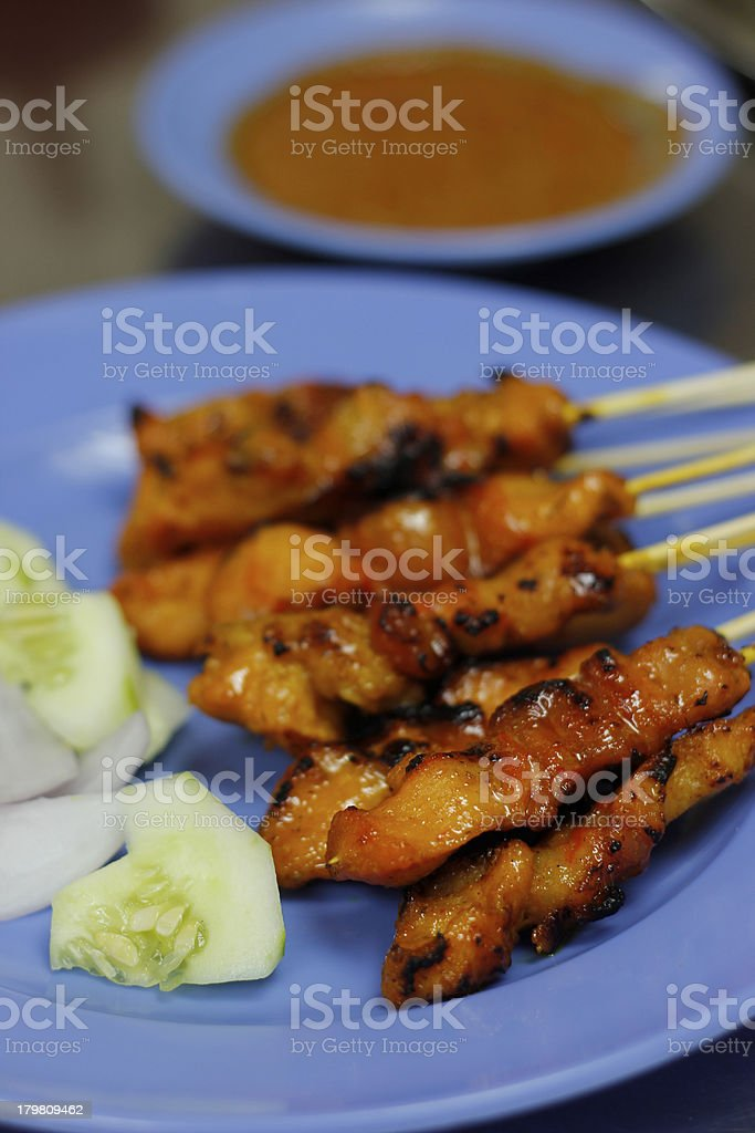 Satay chicken stock photo