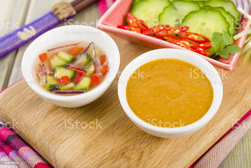 Satay Dipping Sauces & Side Dish royalty-free stock photo