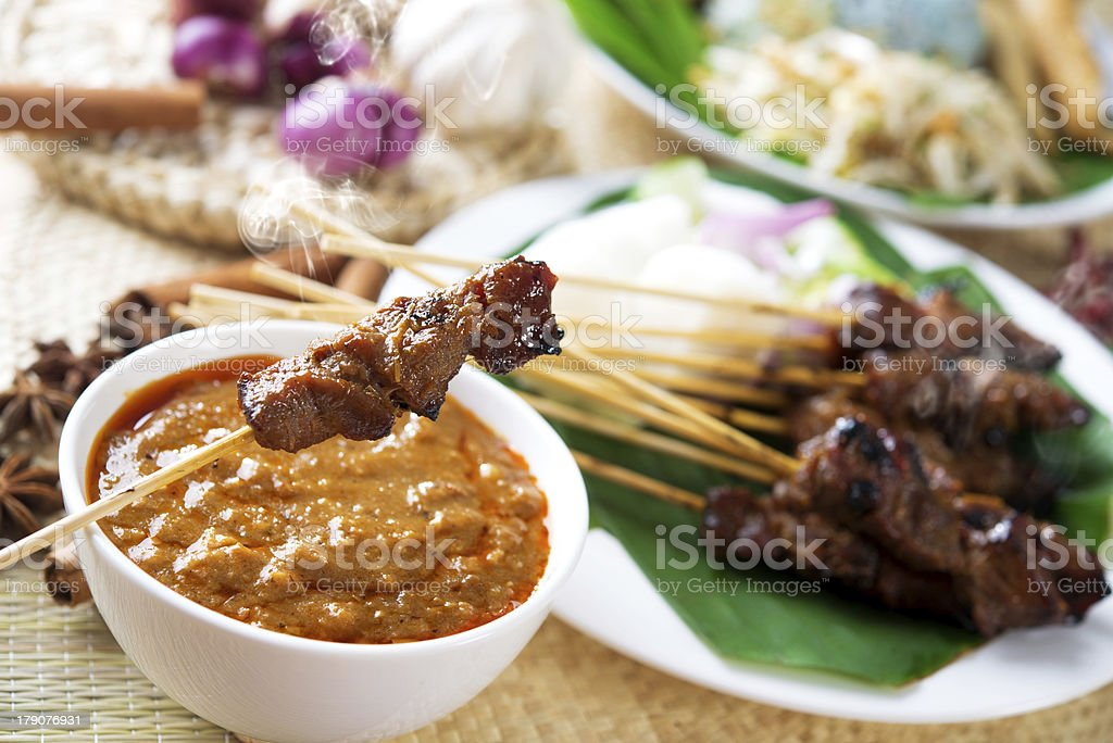 Satay or sate royalty-free stock photo