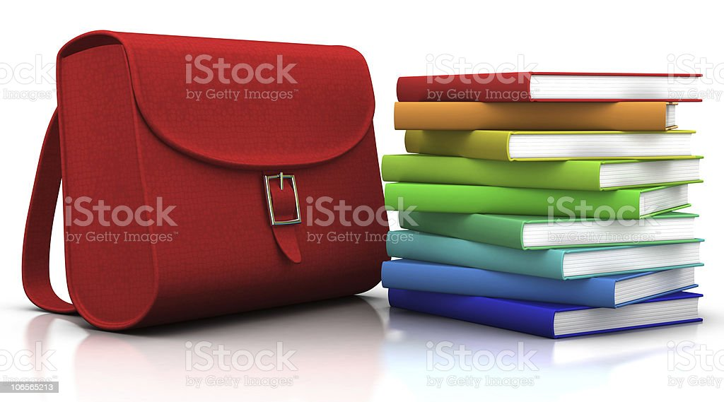 satchel and books royalty-free stock photo