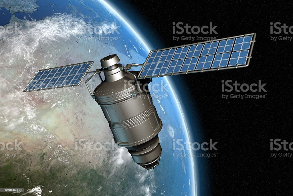 Satelite and earth 4 stock photo