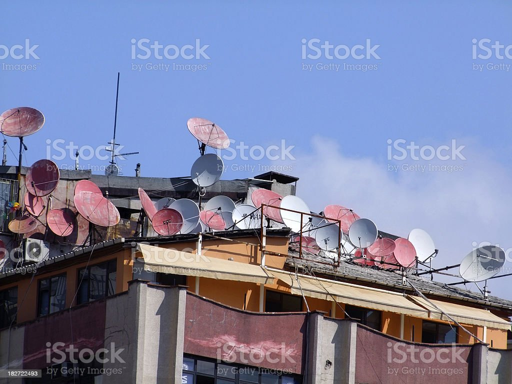 'Satelite Dishes on Roof in Istanbul, Turkey' stock photo