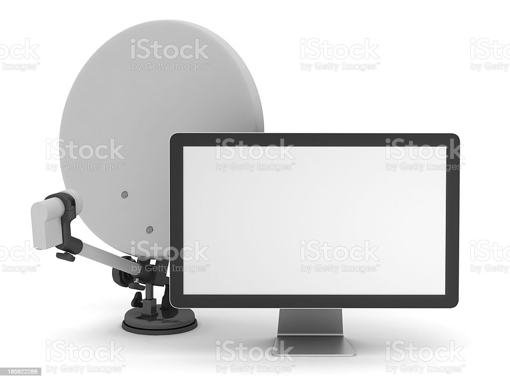 Satellite and computer monitor royalty-free stock photo