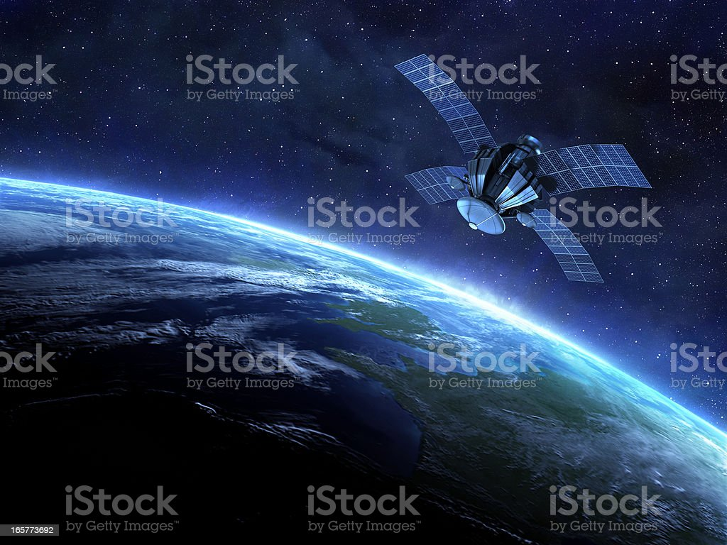 satellite and earth royalty-free stock photo