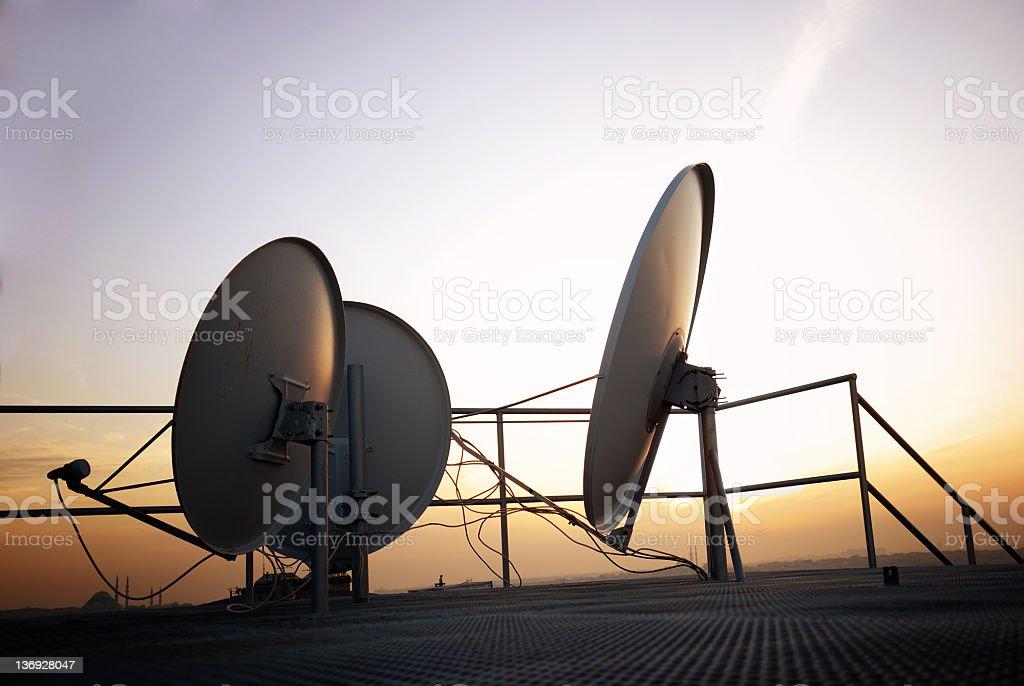Satellite antennas stock photo