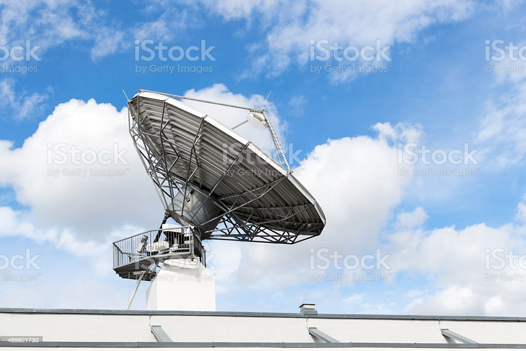 Satellite communication parabolic dish radar antenna or astronom stock photo