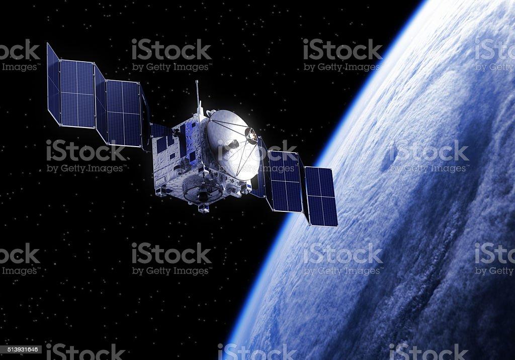 Satellite Deploys Solar Panels In Space stock photo
