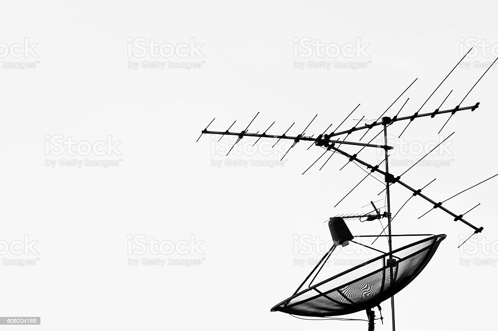 satellite dish and antenna television stock photo