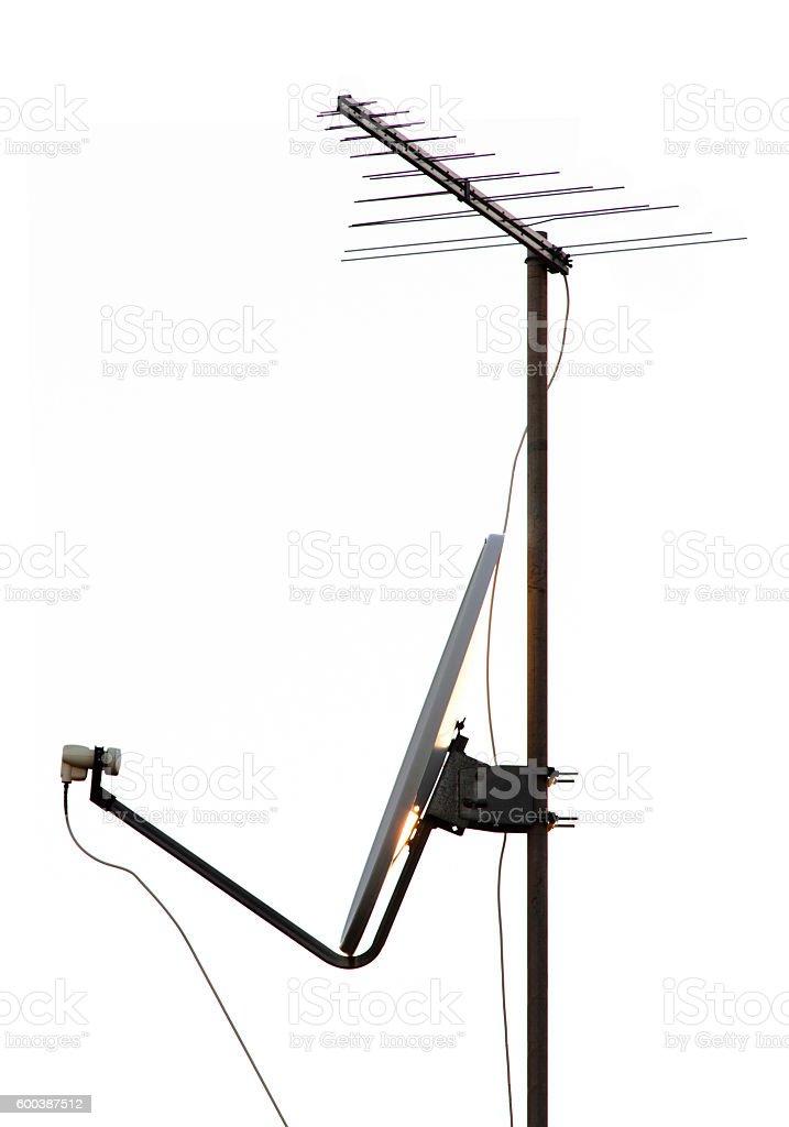 Satellite dish and tv antenna stock photo