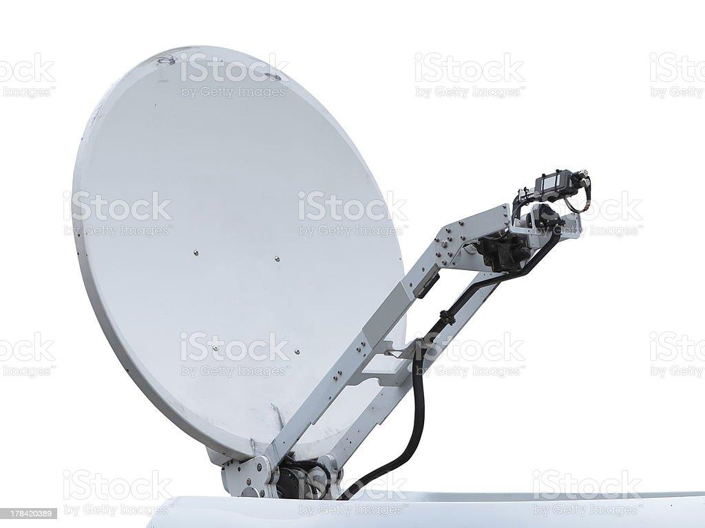 Antena de Prato satélite isolada no branco foto de stock royalty-free