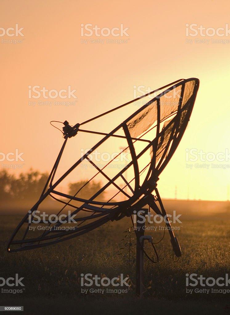 Satellite Dish at Sunset In Arizona stock photo