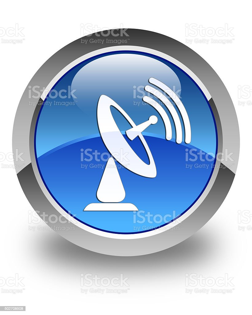 Satellite dish icon glossy blue round button stock photo