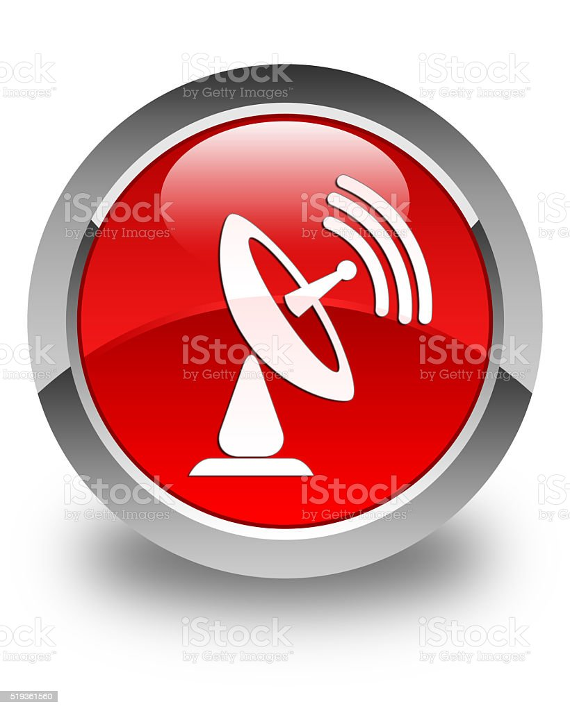 Satellite dish icon glossy red round button stock photo