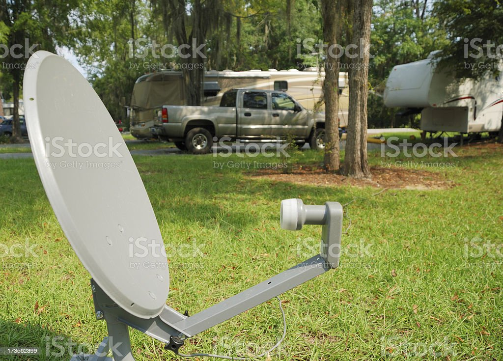 Satellite dish in campground royalty-free stock photo
