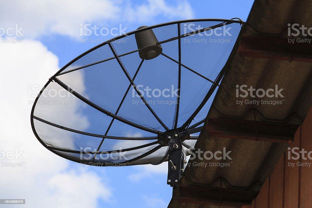 Satellite dish in morning sky royalty-free stock photo
