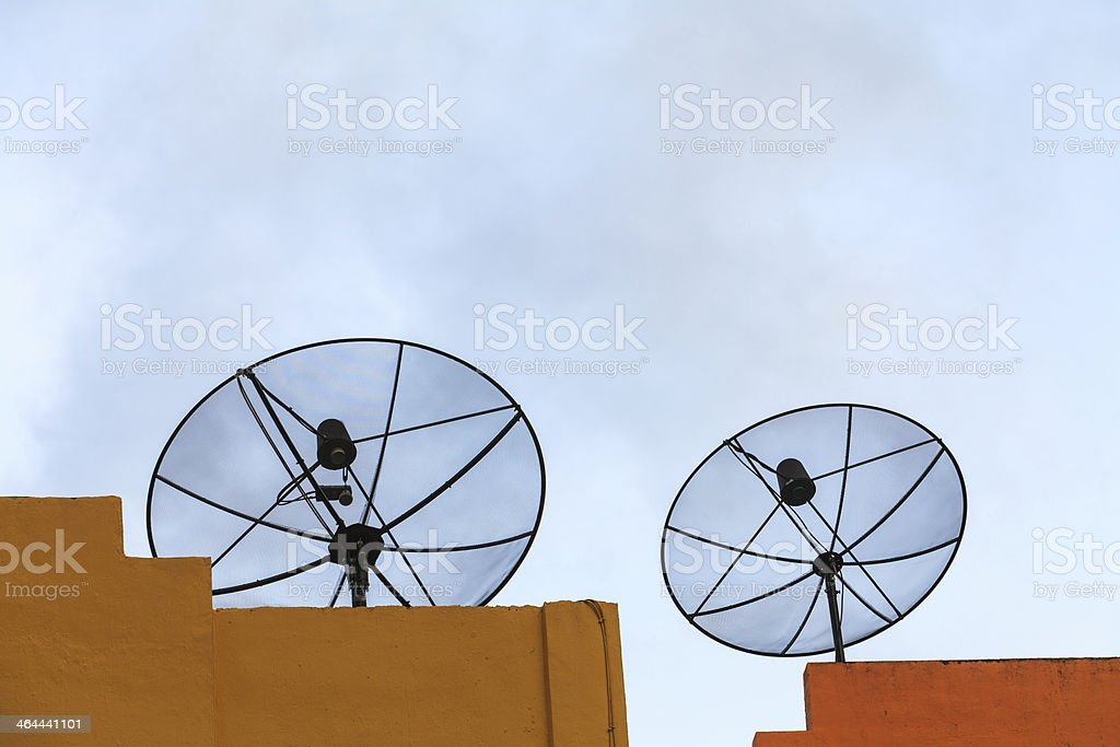 Satellite dish in morning sky royalty-free stock photo