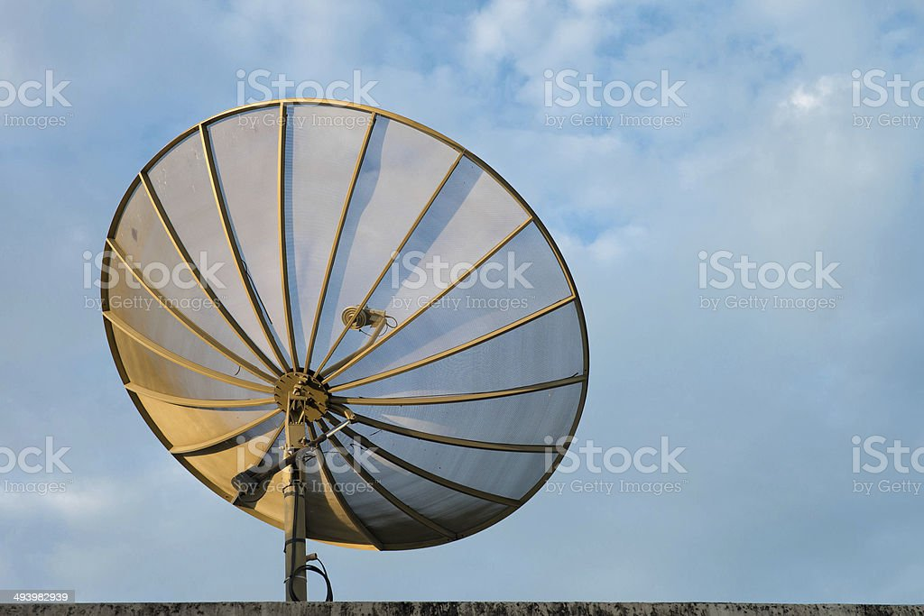Satellite dish in morning sun. stock photo
