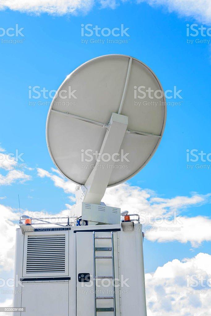 Satellite Dish on Mobile DSNG on Blue Sky stock photo