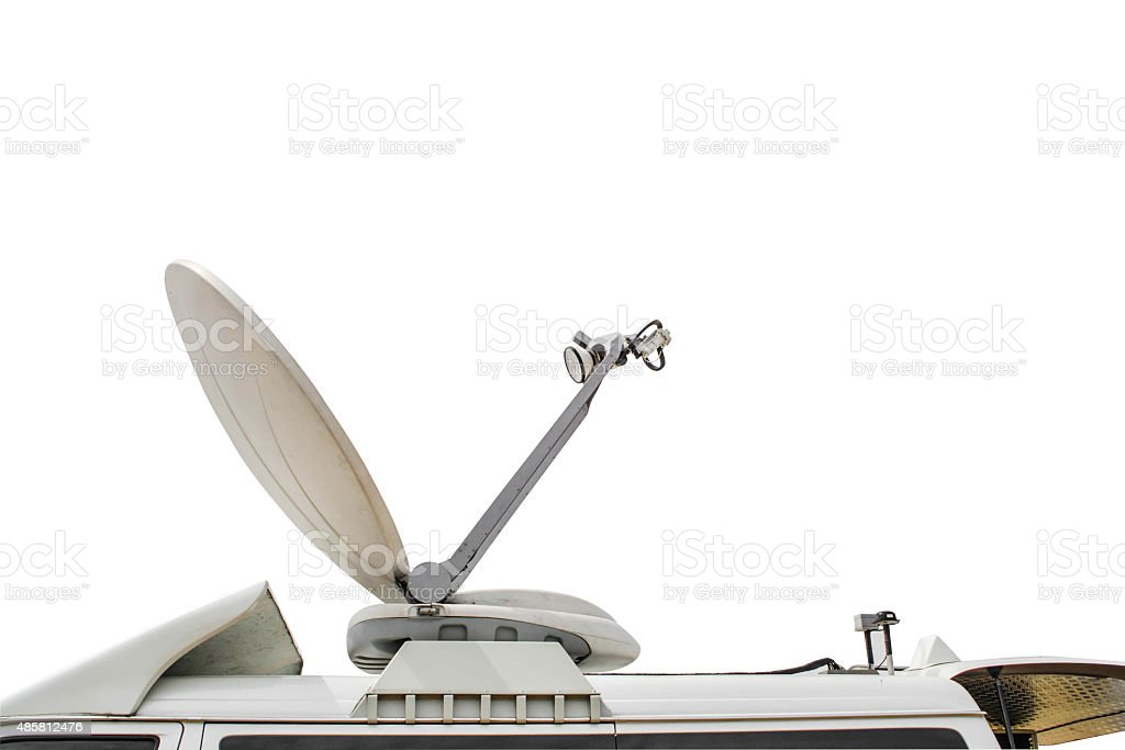 Satellite Dish on Mobile DSNG on White Background stock photo