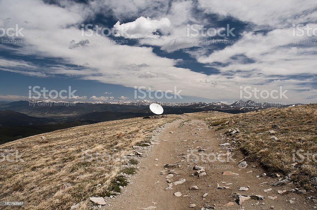 Satellite Dish on Mountain Top royalty-free stock photo