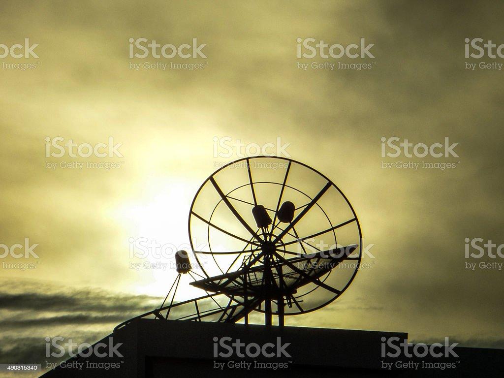 satellite dish on roof stock photo