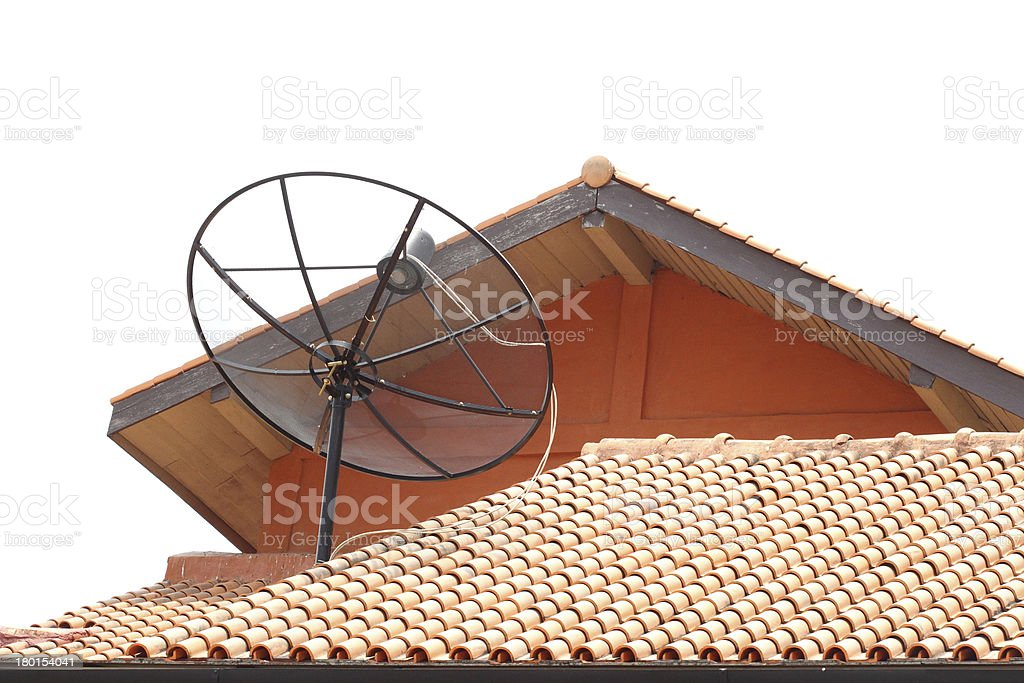 Satellite dish on the roof royalty-free stock photo