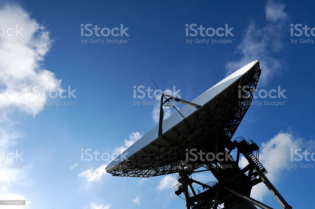 Satellite dish pointing to the blue sky royalty-free stock photo
