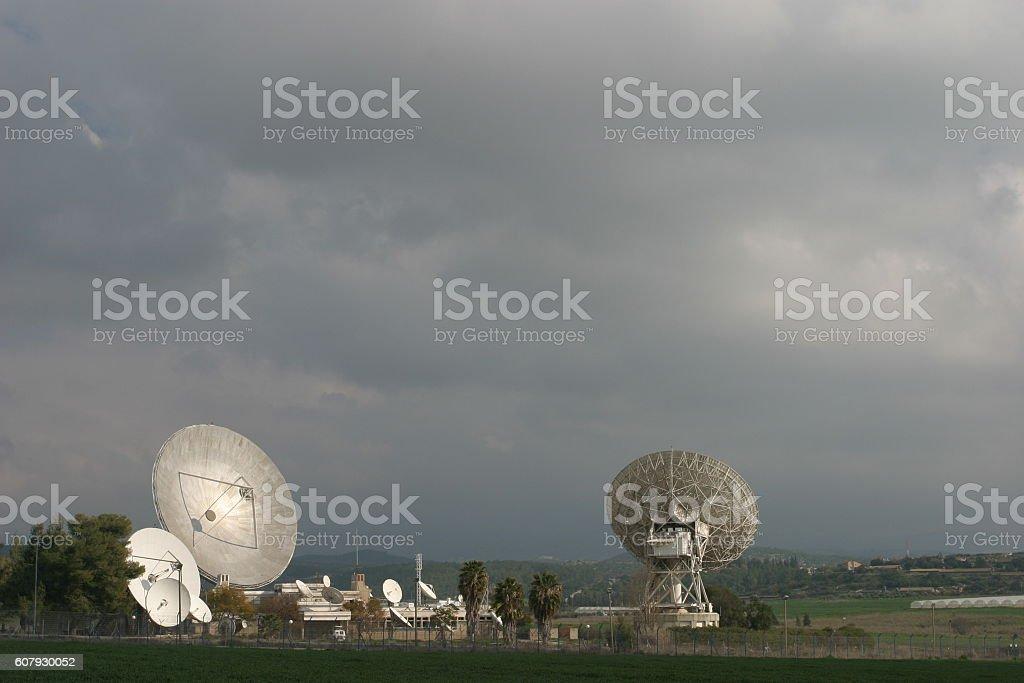 Satellite dish radar antenna technology stock photo
