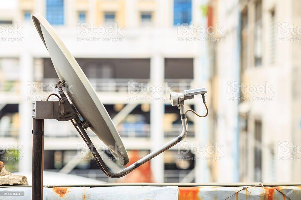 satellite dish receiver on the build stock photo