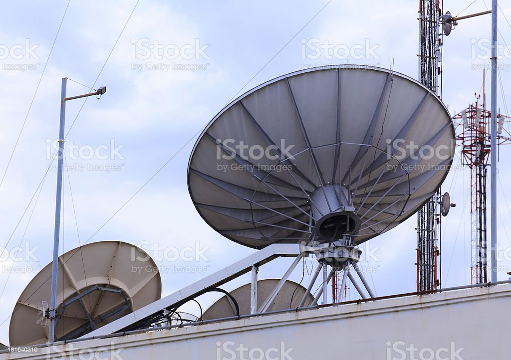 Satellite dish space technology receiver royalty-free stock photo