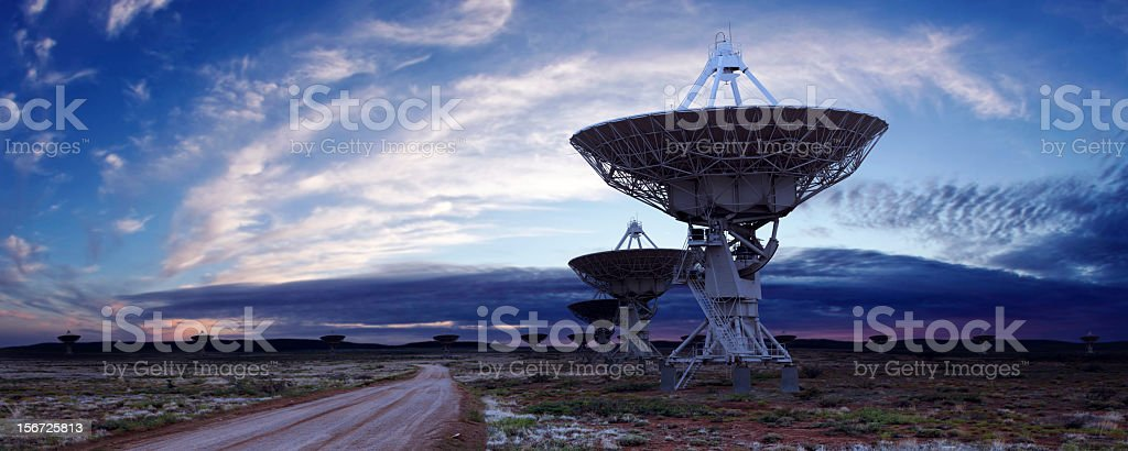 XL satellite dish twilight stock photo