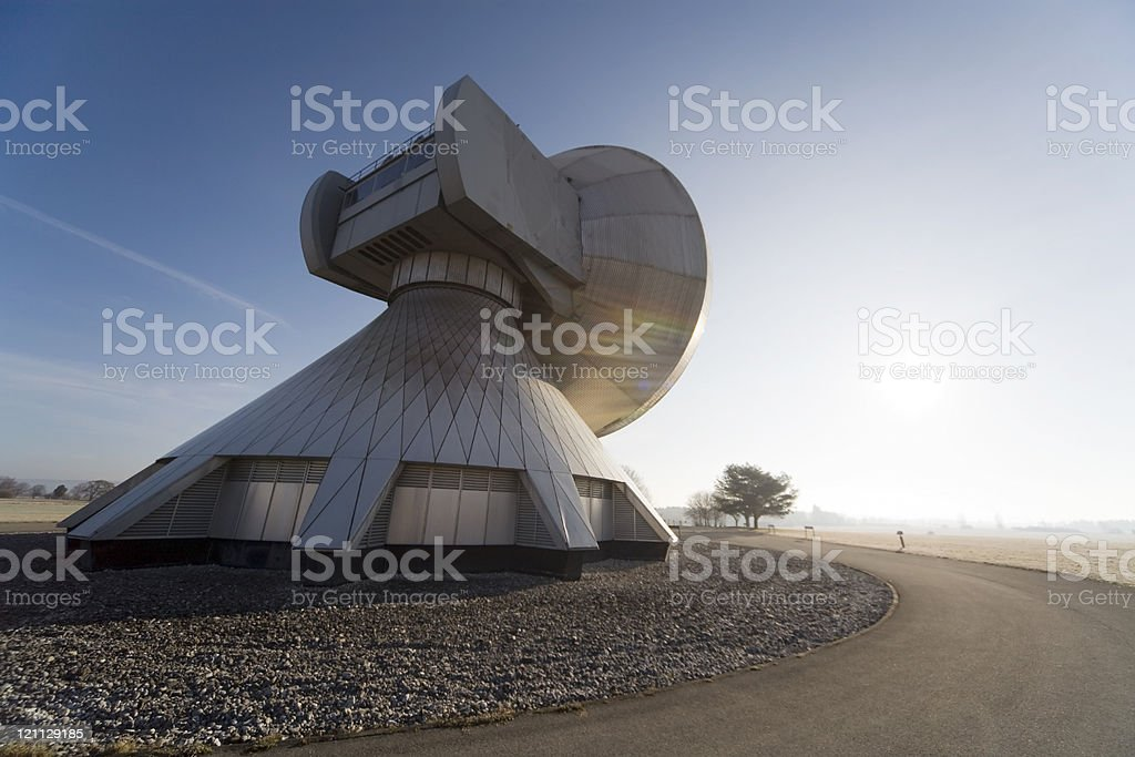 satellite dishes against the sun royalty-free stock photo