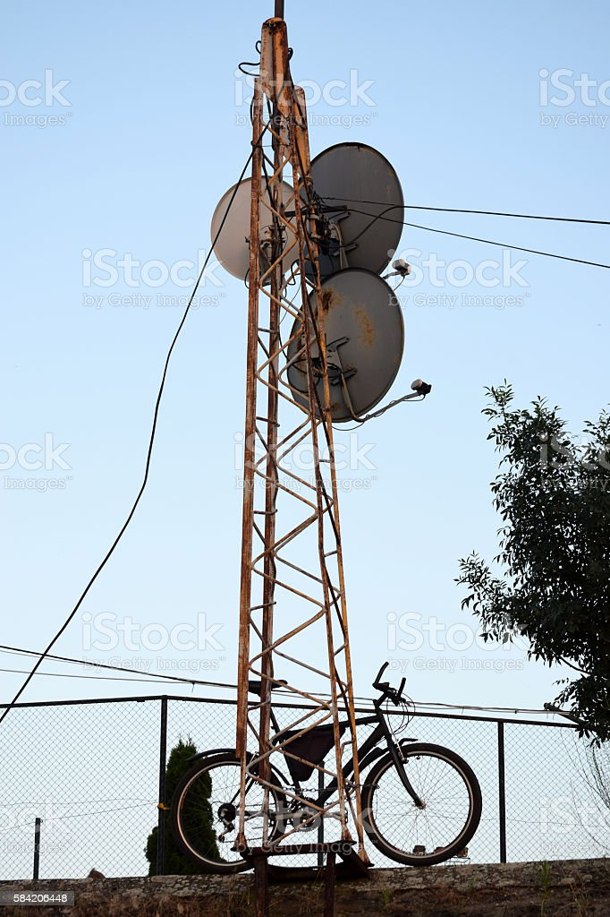 satellite dishes and the bike stock photo
