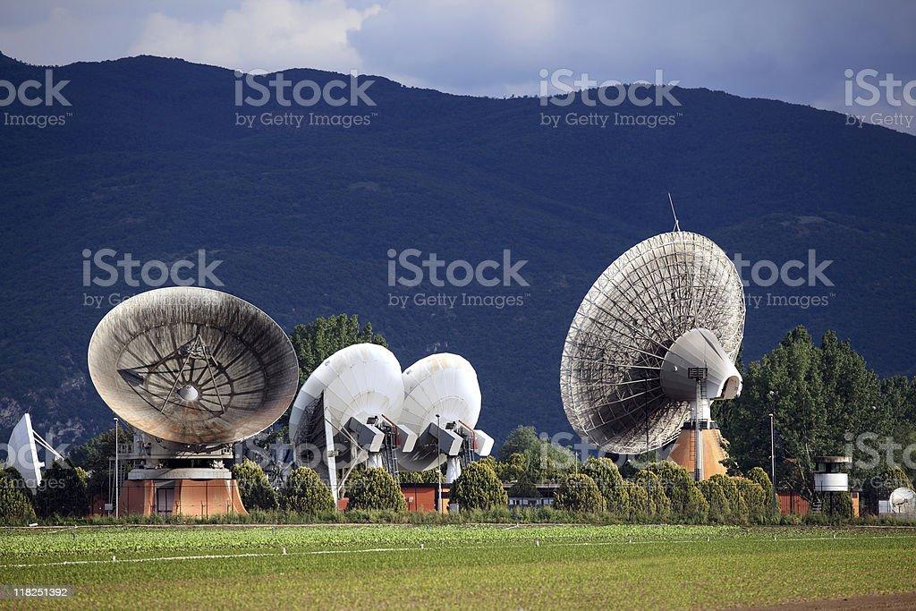 Satellite dishes at Telespazio royalty-free stock photo