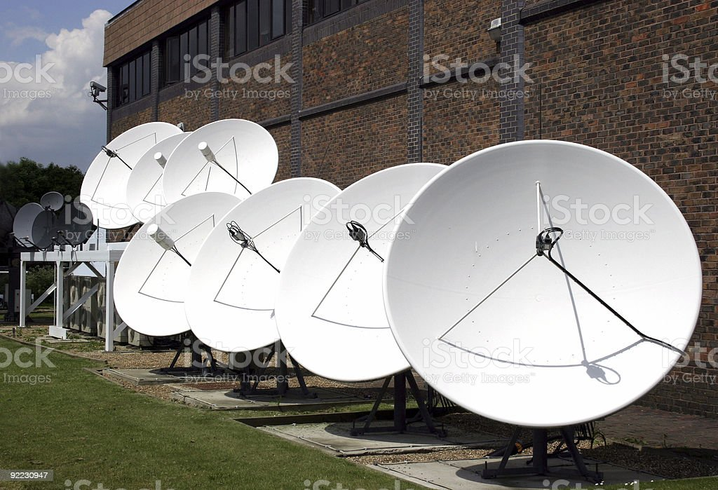 Satellite Dishes in a row royalty-free stock photo