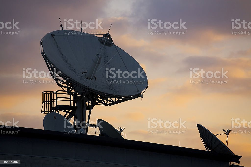 Satellite Dishes on Roof 1 stock photo